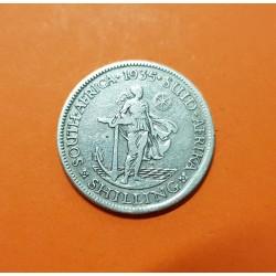 SUDAFRICA 1 SHILLING 1935 DAMA CON ANCLA REY JORGE V KM.17.3 MONEDA DE PLATA MBC South Africa UK Colony