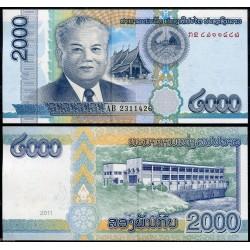 LAOS 2000 KIP 2011 PRESIDENTE y PRESA ELECTRICA Pick 41 BILLETE SC Lao Republic UNC BANKNOTE