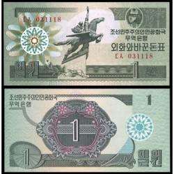 KOREA DEL NORTE 1 WON 1988 ESTATUA ECUESTRE CAPITALIST VISITOR Pick 27A BILLETE SC North Korea UNC BANKNOTE