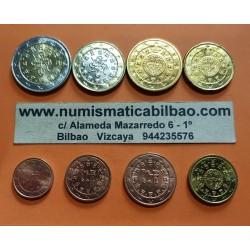 @SUPER RARAS@ PORTUGAL MONEDAS EURO 2007 SC 1+2+5+10+20+50 Centimos + 1 EURO + 2 EUROS 2007 Serie Tira + HOJA DE PARDO