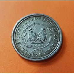 @RARA@ ESPAÑA Rey FERNANDO VII 2 Reales 1823 SEVILLA MEDALLA DE PLATA A LA RESTAURACION DEL ABSOLUTISMO NO8DO
