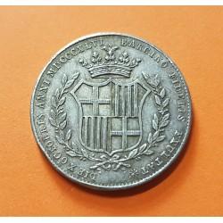 @RARA@ ESPAÑA Reina ISABEL II 2 Reales 1846 BARCELONA MEDALLA DE PLATA BODA REAL CON FRANCISCO DE ASIS