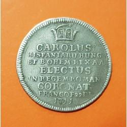 @RARA@ ESPAÑA Rey CARLOS III 1 DUCADO 1711 PLATA MONEDA DE LA CORONACION en FRANKFURT silver Ducat
