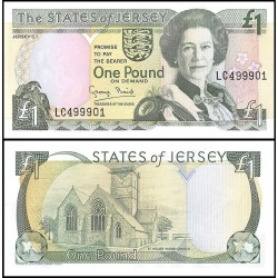 JERSEY 1 LIBRA 1993 REINA ISABEL y ST. HELIER PARISH CHURCH Pick 20 BILLETE SC The States of Jersey 1 Pound UNC BANKNOTE