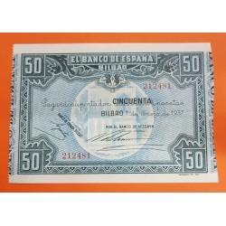 @LUJO@ BILBAO 50 PESETAS 1937 BANCO DE VIZCAYA Sin Serie 212481 Pick S.564 BILLETE PLANCHA SIN CIRCULAR EUSKADI GUERRA CIVIL