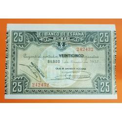 @LUJO@ BILBAO 25 PESETAS 1937 CAJA DE AHORROS VIZCAINA Sin Serie 242432 Pick S.563 BILLETE PLANCHA SIN CIRCULAR EUSKADI