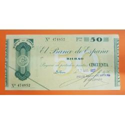 @LUJO@ BILBAO 50 PESETAS 1936 BANCO DE VIZCAYA 474852 BILLETE TALON PLANCHA SIN CIRCULAR GOBIERNO VASCO EUSKADI