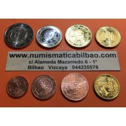 AUSTRIA MONEDAS EURO 2009 SC : 1+2+5+10+20+50 Centimos + 1 EURO + 2 EUROS 2009 EMU ANIVERSARIO SERIE TIRA Österreich