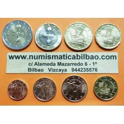 CHIPRE MONEDAS EURO 2009 SC 1+2+5+10+20+50 Centimos + 1 EURO + 2 EUROS 2009 Serie Tira Cyprus