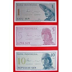 @3 BILLETES@ INDONESIA 1+5+10 SEN 1964 Pick 90-91-92 SC SIN CIRCULAR UNC BANKNOTES
