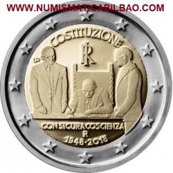 ITALIA 2 EUROS 2018 CONSTITUCION ITALIANA 70 ANIVERSARIO DE SU FIRMA SC MONEDA CONMEMORATIVA 2 Euro coin