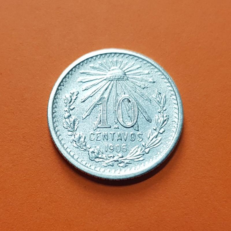 Coins Mexico 10 Cent Silver Coin 1906 Central America