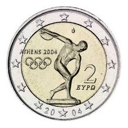 GRECIA 2 EUROS 2004 OLIMPIDA DE ATENAS DISCOBOLO DE MYRON SC BIMETALICA MONEDA CONMEMORATIVA Greece