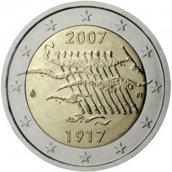 FINLANDIA 2 EUROS 2007 INDEPENDENCIA 100 ANIVERSARIO 1907 BARCA SC BIMETALICA MONEDA CONMEMORATIVA