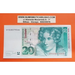ALEMANIA 20 MARCOS 1993 ANNETTE VON DROSTE Pick 39 BILLETE MBC++ Germany Federal BRD 20 Marks
