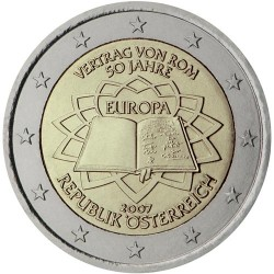 AUSTRIA 2 EUROS 2007 TRATADO DE ROMA 50 ANIVERSARIO SC BIMETALICA MONEDA CONMEMORATIVA