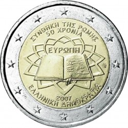 GRECIA 2 EUROS 2007 TRATADO DE ROMA 50 ANIVERSARIO SC BIMETALICA MONEDA CONMEMORATIVA