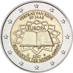 HOLANDA 2 EUROS 2007 TRATADO DE ROMA 50 ANIVERSARIO SC BIMETALICA MONEDA CONMEMORATIVA