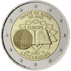 LUXEMBURGO 2 EUROS 2007 TRATADO DE ROMA 50 ANIVERSARIO SC BIMETALICA MONEDA CONMEMORATIVA