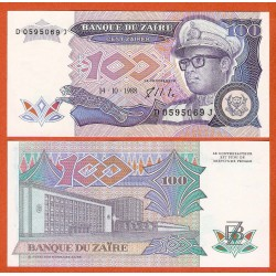 ZAIRE 100 ZAIRES 1988 DICTADOR MOBUTU Pick 33A BILLETE SC Africa UNC BANKNOTE