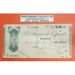 BILBAO 50 PESETAS 1936 CAJA DE AHORROS VIZCAINA 293860 BILLETE TALON MBC+ GOBIERNO VASCO EUSKADI España