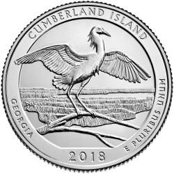 @4ª MONEDA@ ESTADOS UNIDOS 25 CENTAVOS 2018 P Parque Nacional CUMBERLAND ISLAND en GEORGIA MONEDA DE NICKEL SC USA Quarter
