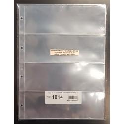 PARDO 10 hojas de 4 ESPACIOS para BILLETES, POSTALES, FOTOS... modelo 1014 PLASTICO DE GRAN CALIDAD SIN PVC para ALBUM GRANDE