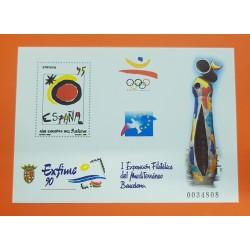 @OFERTA@ EXFIME 1990 PRUEBA DE LUJO Nº 22 AÑO EUROPEO DEL TURISMO JOAN MIRO ESPAÑA SELLO