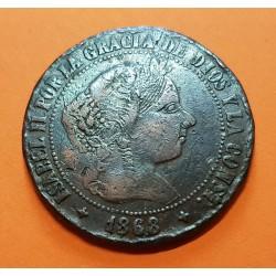@RARA FALSA DE EPOCA@ ESPAÑA Reina ISABEL II 5 CENTIMOS DE ESCUDO 1868 OM Ceca de JUBIA MONEDA DE COBRE