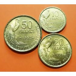 FRANCIA 10 FRANCOS 1951 + 20 FRANCOS 1951 + 50 FRANCOS 1952 GALLO y DAMA Tipo GUIRAUD KM.915+917+918 SC- 3 MONEDAS DE LATON