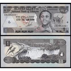 ETIOPIA 1 BIRR 1989 NIÑO, GANADO y CASCADAS EN RIO Pick 46A BILLETE SC Ethiopia UNC BANKNOTE Edicion hasta 1997