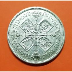 INGLATERRA 1 FLORIN 1936 REY JORGE V KM.834 MONEDA DE PLATA MBC UK 2 Shillings silver coin