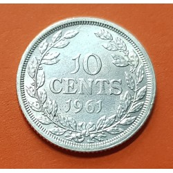 LIBERIA 10 CENTIMOS 1961 DAMA y ESCUDO KM.15 MONEDA DE PLATA SC Africa silver coin