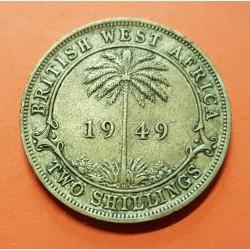 AFRICA DEL OESTE BRITANICA 2 SHILLINGS 1949 Letra H JORGE VI PALMERA MONEDA DE LATON KM.29 British West Africa