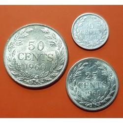 LIBERIA 10 CENTIMOS + 20 CENTIMOS + 50 CENTIMOS 1960 DAMA KM.15+16+17 SC 3 MONEDAS DE PLATA Africa silver