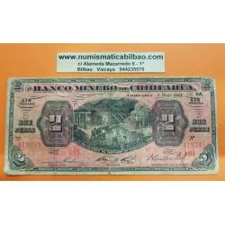 MEXICO 2 PESOS 1914 BANCO MINERO DE CHIHUAHUA y MINEROS Pick S.184 BILLETE @RARO@ Mejico banknote REVOLUCION MEXICANA