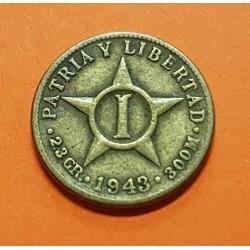 1 CENTAVO 1943 PATRIA y LIBERTAD ESTRELLA DE 5 PUNTAS KM.9.2.A MONEDA DE LATON MBC+ WWII 2ª Guerra Mundial