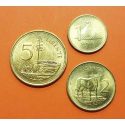 LESOTHO 1+2+5 LISENTE 1979 GENERAL MOSHOESHOE II KM.16+17+18 SC 3 MONEDAS DE LATON