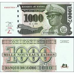 ZAIRE 1000 NUEVOS ZAIRES 1995 DICTADOR MOBUTU y LEOPARDO Pick 66A BILLETE SC Africa UNC BANKNOTE NOUVEAUX