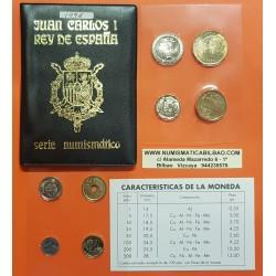 ESPAÑA CARTERA 1996 SC 1+5+10+25+50+100+200+500 PESETAS 1996 JUAN CARLOS I 8 MONEDAS SET NO FNMT