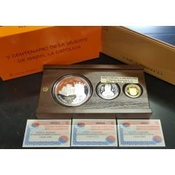 ESPAÑA 10 EUROS + 50 EUROS 2005 CENTENARIO DE DON QUIJOTE PLATA