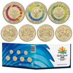 @COLORES@ AUSTRALIA GOLD COAST 2018 COIN COLLECTION 4 monedas x 1 DOLAR 2018 + 3 monedas x 2 DOLARES 2018 LATON SC OFFICIAL SET