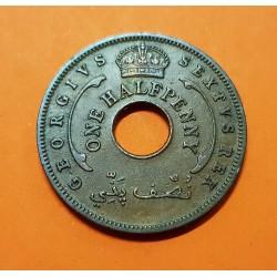 AFRICA DEL OESTE BRITANICA 1/2 PENIQUE 1952 REY JORGE VI y ESTRELLA KM.27A MONEDA DE BRONCE MBC+ British West Africa UK Colony