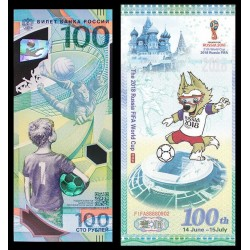 @2 BILLETES@ RUSIA 100 RUBLOS 2018 MUNDIAL DE FUTBOL DE LA FIFA SC OFICIAL en PLASTICO + TIPO SOUVENIR Russia 100 Roubles