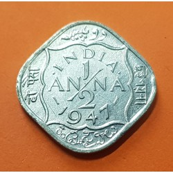 INDIA 1/2 ANNA 1947 REY JORGE VI Forma de Rombo KM.535.2 MONEDA DE NICKEL SC- British India UK Colony Post WWII
