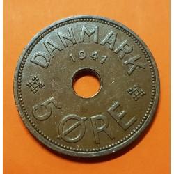 @RARA@ ISLAS FEROE 5 ORE 1941 ESCUDO y VALOR KM.3 MONEDA DE BRONCE Ex Colonia de Dinamarca FAEROE Faroe Islands