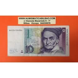 ALEMANIA 10 MARCOS 1991 CARL FRIEDR GAUB Pick 38 BILLETE MBC Germany 10 Marks banknote