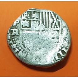 @RARA@ ESPAÑA Rey FELIPE IIII 8 REALES 1635 a 1647 Ceca de POTOSI P.R. Tipo MACUQUINA MONEDA DE PLATA KM.10