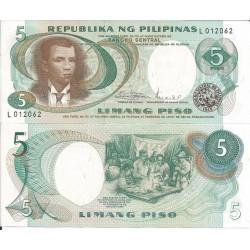FILIPINAS 5 PISO 1969 ANDRES BONIFACIO BANCO NACIONAL Pick 143B BILLETE SC Philippines UNC BANKNOTE