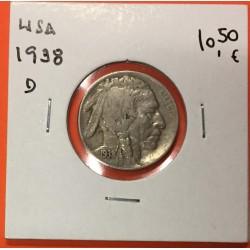 ESTADOS UNIDOS 5 CENTAVOS 1938 - D BUFFALO e INDIO NATIVO MBC +KM.134 MONEDA DE NICKEL COIN